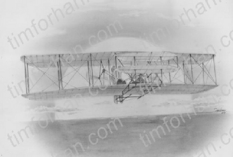 AC-001 Wright Brothers first flight airplane aircraft pencil drawing