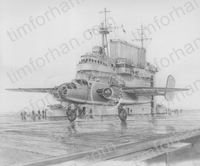 b25-deck-doolittle-aircraft-airplane-pencil-drawing-ac011