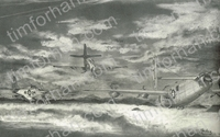 b-24-red-tail-escort-west-aircraft-airplane-pencil-drawing-ac042
