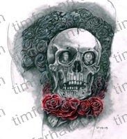 dat-tat-skull-with-red-roses-tattoo-miscellaneous-prints-wall-art-colored-pencil-drawing-m016
