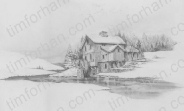 river-wheel-mountain-house-structure-prints-wall-art-pencil-drawing-s002
