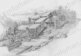 mountain-house-structure-prints-wall-art-pencil-drawing-s013