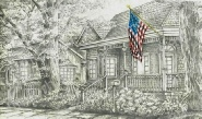 the-hood-house-with-american-flag-structure-prints-wall-art-pencil-drawing-s014
