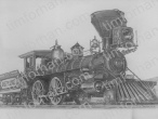 the-golden-spike-train-engine-transportation-prints-wall-art-pencil-drawing-t002