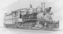 rr-engine-number-268-narrow-gauge-transportation-prints-wall-art-pencil-drawing-t003