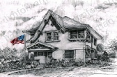 tudor-patriotic-house-us-flag-prints-wall-art-pencil-drawing-us001