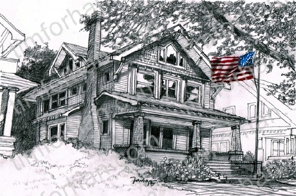 porch-patriotic-house-us-flag-prints-wall-art-pencil-drawing-us006