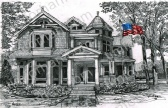 victorian-patriotic-house-us-flag-prints-wall-art-pencil-drawing-us011
